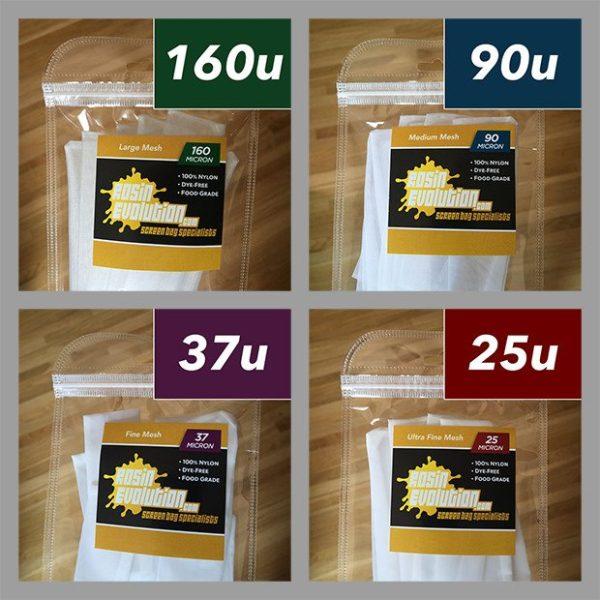 Rosin Evolution screen bags micron sizes